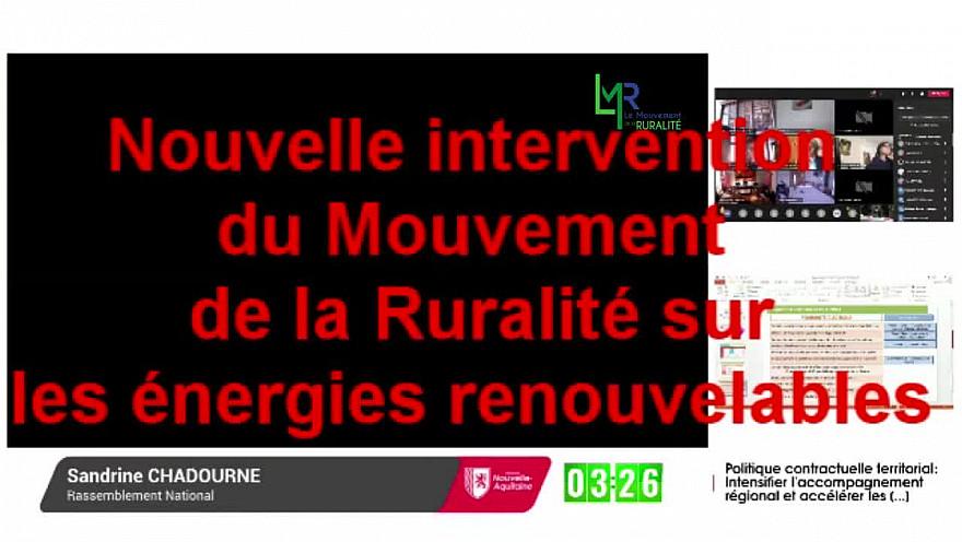 Intervention du Mouvement de la Ruralité au sujet des Energies Renouvelables @EddiePuyjalon @LeMouvRuralite @LMR_NAquitaine
